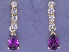 E038 Genuine 9ct Solid Gold NATURAL Rhodolite Garnet & White Sapphire Earrings