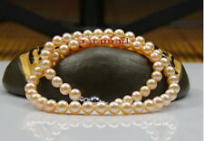 "AAAAA 18"" 7.5""9-10mm real south sea gold pink pearl SETS bracelet necklace 14K"