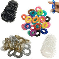 10 Hair Spiral Bobbles Coil Elastic Tie Bands Stretchy Wired Plastic Tangle Free