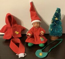 Rare Zapf Creations Mini Baby Born Christmas Set Doll Tree Scarf Bib Jacket Hat