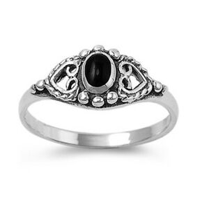 Women 8mm Sterling Silver Black Onyx Wedding Promise Vintage Style Ring Band