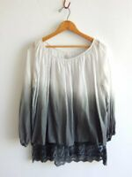 RAGA ~ Full Wide Lace Underlayer Trimmed Peasant Blouse Top ~ M