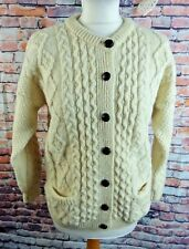 """Vintage COUNTRY SCENE cable knit cardigan Medium 14 40"""" pockets chunky pure wool"""