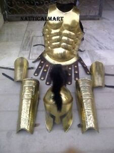 Greek Muscle Armor W/ Spartan Helmet Leg Arm Guard & Arm Guard Set