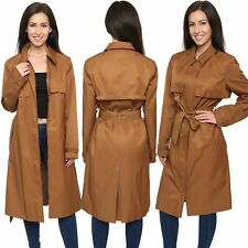 Ex Chainstore Ladies Womens Long Tan Brown Fashion Belted Trench Parka Coat 8-22