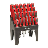 Great Working Tools 26 Piece Screwdriver Set - Magnetic Steel Tip Blades & Rack
