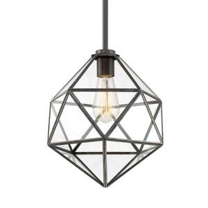 1-Light English Bronze Dimmable Hanging Cage Small Pendant w Glass Panels Shade