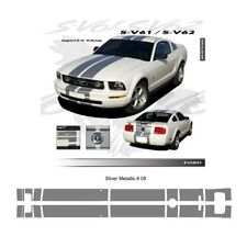 Ford Mustang 2005 to 2009 Bumper to Bumper Stripes Graphic Kit - Metallic Silver