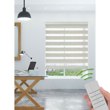 Motorized Zebra Blinds Sheer Roller Shade Waterproof Window Treatment Beige