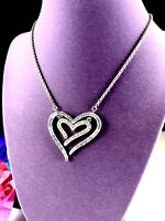 STRIKING BRIGHTON SILVER PLATED CHAIN NECKLACE RHINESTONE DOUBLE HEART PENDANT