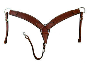 WORKING HORSE BREAST COLLAR COW LEATHER PADDED BASKET WEAVE TOOLED TRAIL TACK