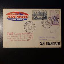 AVIATION LETTRE COVER PREMIER VOL PARIS SAN FRANCISCO ETATS UNIS 1957