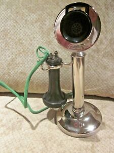 Western Electric Nickel-Plated Candlestick Telephone.