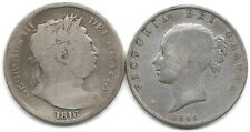 Great Britain Lot of 2 Silver 1/2 Half Crown Coins 1816 & 1845 George III Vicky