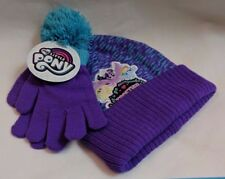 My Little Pony the Movie Beanie Winter Hat & Mittens Set Purple & Aqua NWT