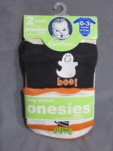 New Gerber Baby Onesies Boy & Girl Halloween Long Sleeve Shirt Set 0-3 Months