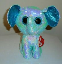"Ty FLIPPABLES - STUART the Elephant 6"" Beanie Boos Sequins Plush NEW MWMT"