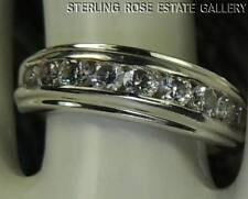 9 CUBIC ZIRCONIA Sterling Silver 0.925 Estate WEDDING ANNIVERSARY BAND RING sz 7