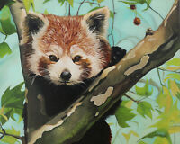 Original Artwork oil painting Red panda on stretch canvas, wildlife 16''x20""