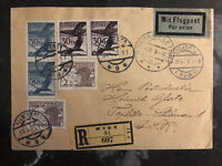 1929 Vienna Austria Airmail Cover To Prague Czechoslovakia w/German Infl Stamps
