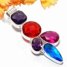 Red Garnet Gemstone Ethnic 925 Sterling Silver Jewelry Pendant 2.9 7386