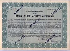 House of Life Cemetery Corporation Stock Certificate New York