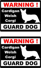 2 warning Cardigan Welsh Corgi guard dog car home window vinyl decals stickers