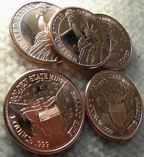 Lot of  Five 2012 High Grade Statue of  Liberty .999 Fine Copper Rounds!!