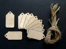 WOODEN GIFT TAGS / PRICE TAGS 90mm PACK OF 10 SHAPES GIFT WRAPPING