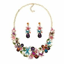 multicolor glass crystal dragonfly luxury necklace/earrings set US SELLER