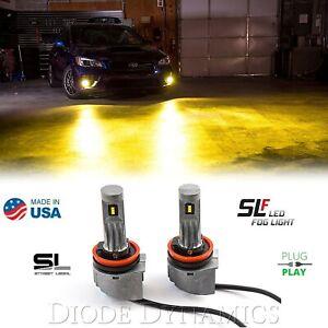 H11 SLF LED Fog Light Lamp Bulb 3000K 780LM Yellow Street Legal Pair