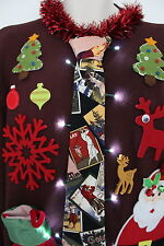 Ugly Christmas Sweater Golf Neck Tie Mens SIZE Medium Lights Up #15D7