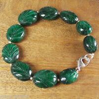 "139+ Cts Natural Brazilian Oval Carved Emerald Beaded Bracelet 8"" Long ~FINE EDH"