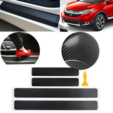 4pcs Carbon Fiber Vinyl 4D Car Plate Door Sill Sticker Panel Scratch Protector