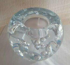 Large Vintage Mid Century Clear Art Glass Controlled Bubble Candle Holder