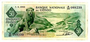 Congo Democratic Republic … P-5 … 50 Francs … 1962 … *F+*
