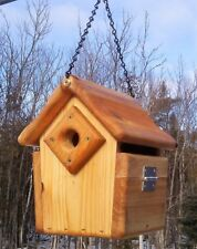 Cute hanging, square Wren or Chickadee bird house, cedar wood, TBNUP # 1HWC