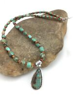 """NativeAmerican Royston Turquoise SPINY Sterling Silver 22"""" Pendant Necklace 4873"""