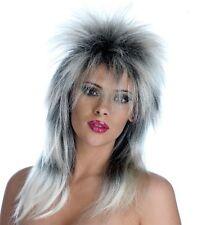 80s Glam Rock Silver & Black Unisex Fancy Dress Wig - One Size