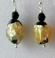 Art Deco Gold Foil Black Glass Bead 925 Sterling Silver Drop Dangle Earrings