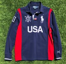 Rare Mens Navy Blue Polo Ralph Lauren USA Polo Challenge L/S Rugby Flag Shirt L