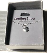 "Dainty Sterling Silver Necklace Heart Pendant 18"" New"