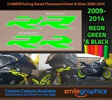 BMW S1000RR Fairing Decals. 2009-14 - Fluorescent Green & Silver Stickers