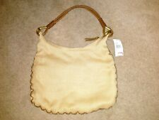 Nine West NWT Natural Camel Jute Large Tote Bag Leather Handles Rings MSRP $76