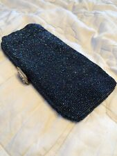 Vintage Blue Beaded Purse Clutch Handbag, Charbet, made In Belgium,