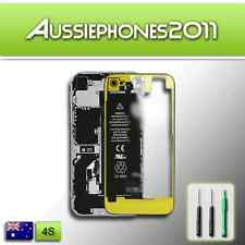 TRANSPARENT YELLOW Colour LCD Digitizer Glass Back Screen Cover for iPhone 4S