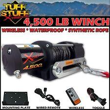 4500Lb UTV Winch Waterproof w/ Wireless Remote Synthetic Rope & Universal Mount
