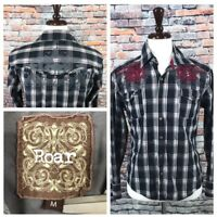 Roar Tribal Embroidered Long Sleeve Button Front Shirt Affliction Buckle Medium