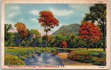 Springdale PA Pennsylvania vintage linen postcard park scene