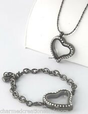 SECURE CLASP Crystal Heart Gunmetal Floating Charm Locket Bracelet Necklace Set